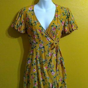 Forever 21 yellow floral wrap minidress medium